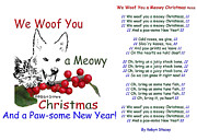 Christmas Dogs Prints - We Woof You a Meowy Christmas Print by Robyn Stacey