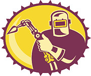 Industrial Digital Art Prints - Welder Worker Welding Torch Retro Print by Aloysius Patrimonio