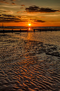 Groyne Prints - Welsh Sunset Print by Adrian Evans