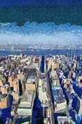 Empire State Building Paintings - West view from Empire State Building by George Atsametakis