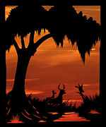 Deer Silhouette Digital Art - Wetland Wildlife - Sunset Sky by Al Powell Photography USA