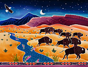 Montana Wildlife Paintings - Where the Buffalo Roam by Harriet Peck Taylor