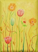 Flower Gardens Painting Posters - Whimsical Garden Poster by Christine Belt