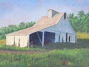 Barn Pastels Prints - White Barn on Bluff Road Print by Garry McMichael