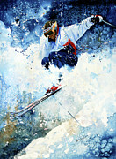 Skiing Action Painting Framed Prints - White Magic Framed Print by Hanne Lore Koehler