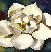 Blues Painting Originals - White Magnolia With Blues by Alfred Ng