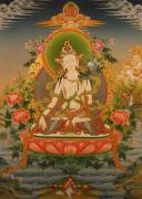 Tibetan Buddhism Painting Posters - White Tara Poster by Art School