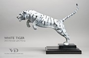 Tiger Sculptures - White Tiger by Victor Douieb
