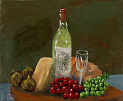 Canvas Wine Prints Framed Prints - White Wine Framed Print by Gail Daley