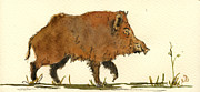 Wild Boar Paintings - Wild boar by Juan  Bosco