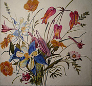 Egg Tempera Prints - Wildflowers Print by Catherine Meyers