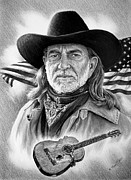 Flag Drawings Prints - Willie Nelson American Legend Print by Andrew Read
