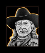 Cowboy Pencil Drawings Prints - Willie Nelson Print by Charles Champin