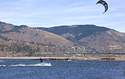 Wind Surfing Framed Prints - Wind surfing in the Columbia River Gorge OR. Framed Print by Gino Rigucci