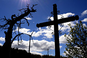 Dead Tree Posters - Wind turbine and cross Poster by Bernard Jaubert