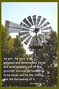 Abe Lincoln Digital Art Posters - Windmill With Lincoln Quote Poster by Barbara Snyder