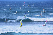 Ocean Photography Framed Prints - Windsurfers on Maui Framed Print by Diane Diederich