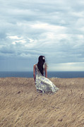 Floating Girl Metal Prints - Windy Day Metal Print by Joana Kruse