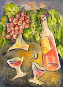 Vintage Red Wine Originals - Wine and Grapes by Joan Landry