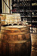 Cellar Photos - Wine  glasses and barrels by Elena Elisseeva