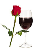Long Stem Wine Glass Posters - Wine with red rose Poster by Elena Elisseeva