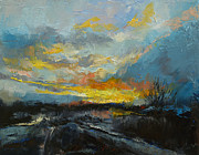 Hiver Prints - Winter Evening Print by Michael Creese