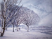 Landscape Posters Drawings Posters - Winter in Gosport  Poster by Stephen Rea