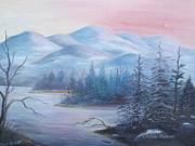 Snow Covered Pine Trees Paintings - Winter in the Mountains by Glenda Barrett