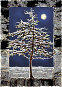 Snowy Night Night Framed Prints - Winter Moon Framed Print by Ursula Freer