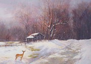 Deer Pastels Posters - Winter Palette Poster by Howard Scherer