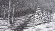 White River Scene Drawings - Winter Scene by Patricia Januszkiewicz