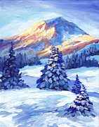 Winter Sunset Paintings - Winter Sunset  by Peggy Wilson