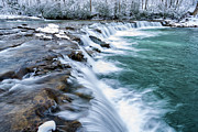 Rushing Stream Acrylic Prints - Winter Waterfall Acrylic Print by Thomas R Fletcher