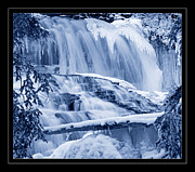 Falling Water Creek Prints - Winter Wonderland Waterfall Blues Print by John Stephens