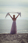 Shawl Photos - Woman At The Beach by Joana Kruse