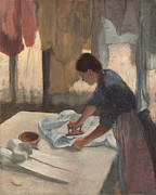 Three Quarter Length Framed Prints - Woman Ironing Framed Print by Edgar Degas