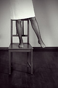 Tights Prints - Woman On Chair Print by Joana Kruse