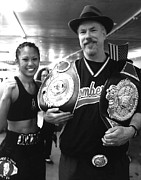 Hair Art - Womans Boxing Champion Filipino American Ana Julaton and myself by Jim Fitzpatrick