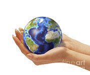 Map Of Africa Digital Art - Womans Hands Holding An Earth Globe by Leonello Calvetti