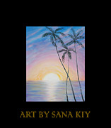 Art In Acrylic Digital Art Framed Prints - Wonderful Sunrise in Paradise Framed Print by Oksana Semenchenko