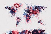 Map Canvas Digital Art Prints - World Map Paint Splashes Print by Michael Tompsett