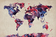 Mapping Digital Art Metal Prints - World Map Watercolor Metal Print by Michael Tompsett