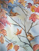 Bird On Tree Painting Prints - Wren To Wren Print by Patricia Pushaw