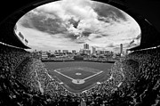 Chicago Black White Metal Prints - Wrigley Field  Metal Print by Greg Wyatt