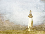 Watercolor Photo Metal Prints - Yaquina Head Light Metal Print by Carol Leigh