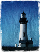 Solitude Digital Art Posters - Yaquina Head Lighthouse Poster by Elena Nosyreva
