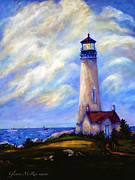 Pacific City Paintings - Yaquina Head Lighthouse Oregon by Glenna McRae