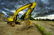 Machinery Photo Posters - Yellow excavator Poster by Jaroslaw Grudzinski