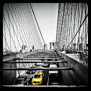 Brooklyn Bridge Digital Art Metal Prints - Yellow Metal Print by Natasha Marco