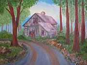 Old Barns Paintings - Yesterdays Barn by Nancy Craig